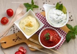Molhos diferentes tomate branco maionese vinagrete