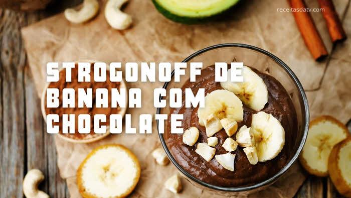 Strogonoff de banana com chocolate