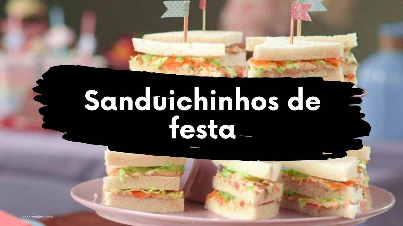 Receitas de sanduichinhos de festa com pão de forma